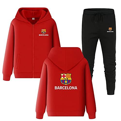 OPSCLOY Herren Trainingsanzug Set Bǎ-rcělōňǎ Jogginganzug Kapuzenjacke + Hose Hoodie Set Sportswear Mode/red/XXL
