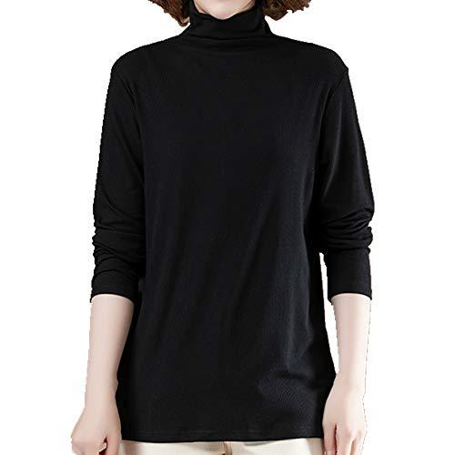 N\P Otoño e Invierno Mujer Suelta Manga Larga Slim Cuello Alto Fondo Camisa