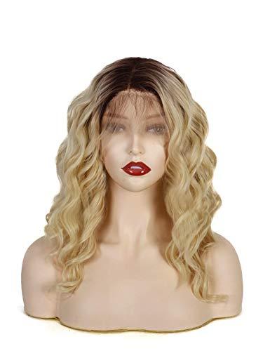 14Zoll 13×6.5 Seite Teil 30% HUMAN Haar+70% hitzebeständig Fiber 613 Blonde Ombre braun Wurzeln Spitze Vorne kurze Bob Wavy Cosplay Perücken natürlich aussehende Haarlinie für Frauen