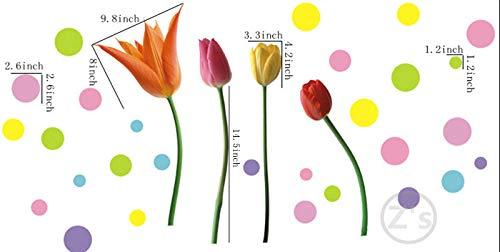 Adhesivo decorativo para pared, diseño de tulipanes, para TV, chimenea, cabecero, estantería, decoración del hogar, vinilo extraíble