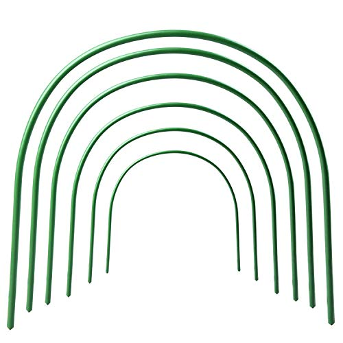 AHZZY Greenhouse Support Hoops, 6 Pack 4ft Long Steel with Plastic Coated Hoops Garden Grow Tunnel
