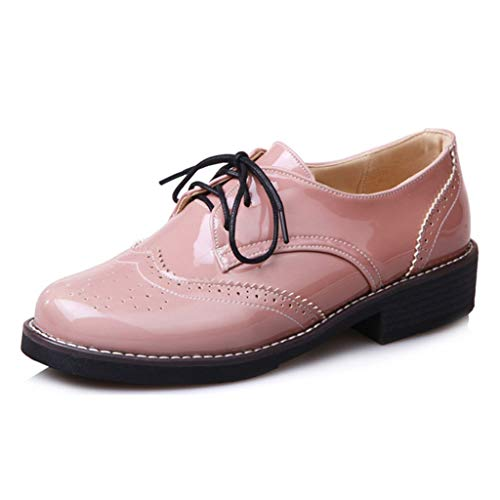 MIOKE Women's Classic Flat Saddle Oxford Shoes Wingtip Lace Up Perforated Low Heel Vintage Oxfords Brogues Pink