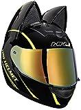 Allround Helmets Casco de Moto Niña Mujer Casco de Oreja de Gato Certificado por Dot Casco de Moto Integral Four Seasons Cascos modulares con Visera para Street Bike Racing Motocross ATV 6,L(57-59cm)