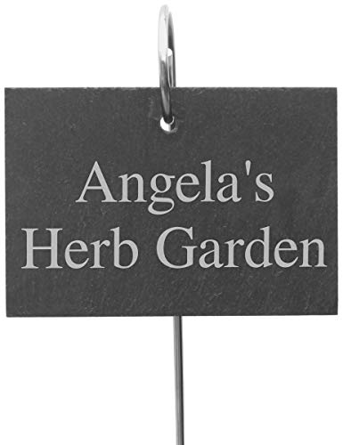 Go Find A Gift Personalised Outdoor Garden Slate Sign with Metal Stake Hanger - 13x10cm