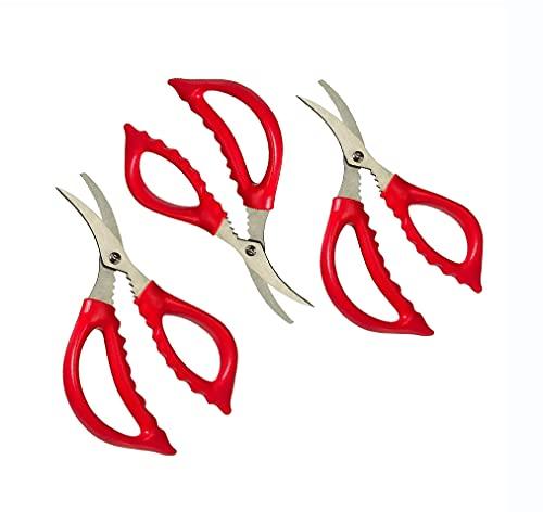 Seafood Scissors, King Crab, Lobster Shears, Shellfish Scissors, Crawfish, Prawns, Crab Leg Crackers Snip Crack Shells Kitchen Tool (Pack of 3)