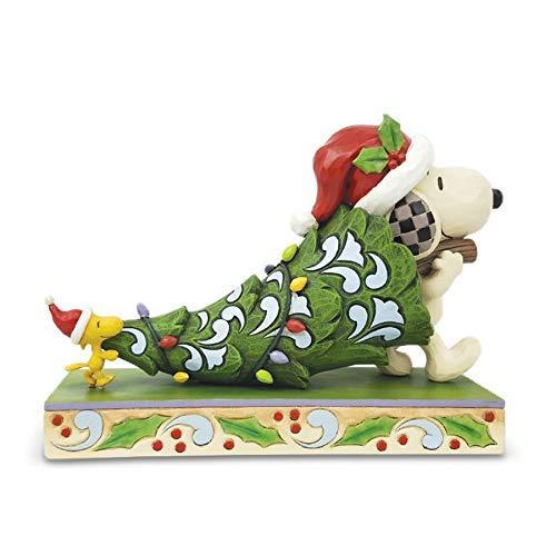 Enesco Jim Shore Snoopy y Woodstock con árbol de Navidad