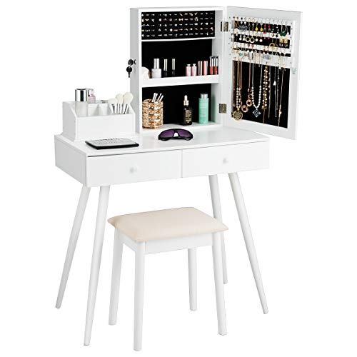 Giantex Makeup Vanity Set with Lockable Jewelry Cabinet and Mirror