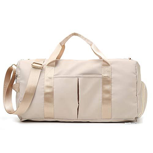 LQG Sport Gym Bag, con Scarpe scompartimento e Asciutto e Bagnato separazione Impermeabile Leggera Viaggio Borsone Adatto per Fitness, Viaggi,Beige