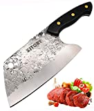 KITORY Forged Cleaver Knife Chinese Kitchen Chef`s Knives Full Tang Pakkawood Handle Non-Sticky...
