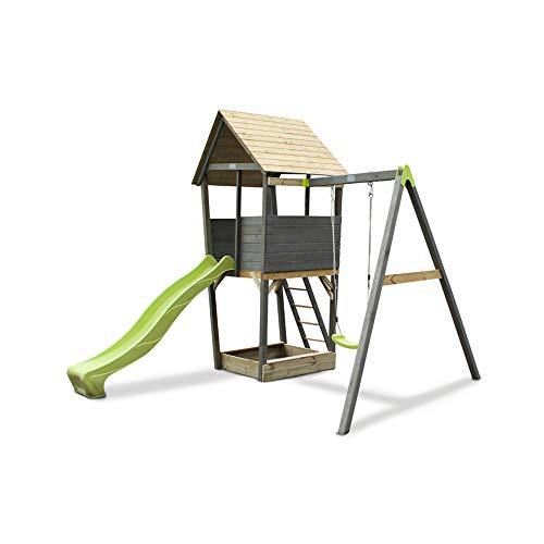 EXIT Aksent Holzspielturm mit 1-sitziger Schaukel- grau