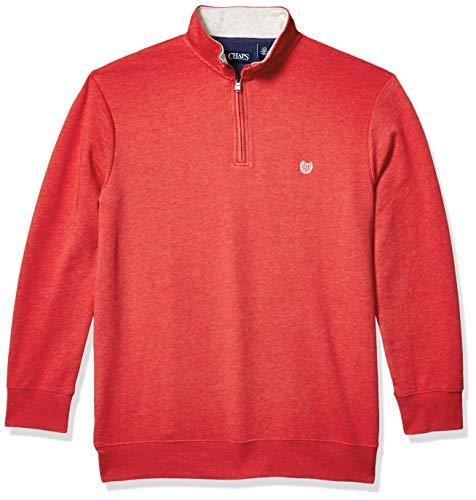 Chaps Men's Tall Classic Fit Textured Quarter Zip Sweater, Pandora Red, 4X/Big