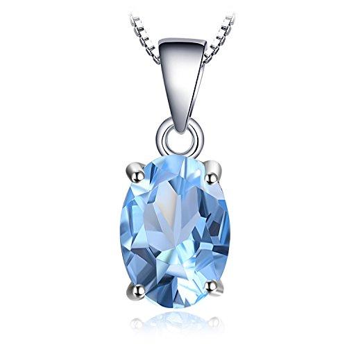 JewelryPalace Ovale 2.1ct Naturale Cielo Blu Topazio Birthstone Solitario 925 Sterling Argento 45cm