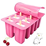 Luxeshion Silicone Frozen Ice Popsicle Maker 10 Cavities Homemade Popsicle Molds Shapes Silicone Ice Tray Silicone Ice Cream Mould(Pink)
