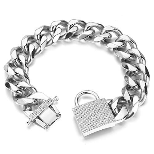 Aiyidi Strong Dog Chain Collar Heavy Duty Stainless Steel Silver Dog Chain Wide 23MM Thick Cuban Link Choke Chain Dog Collar for Medium Large Dogs(26'')