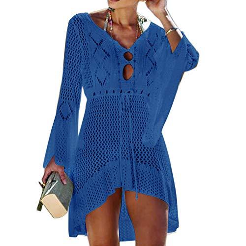 Tacobear Mujer Pareos Playa Traje de Baño Verano Vestido de Playa Sexy Bikini Cover up Camisola de Playa Túnica de Punto (Azul Real)