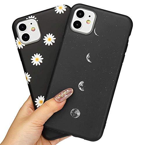 LLZ.COQUE 2 Pack Handyhülle Kompatibel mit iPhone 12/iPhone 12 Pro Hülle Gänseblümchen Schutzhülle TPU Hülle Slim Hülle Cover Mond matt Handyhülle für iPhone 12/12 Pro Hülle MondundGänseblümchen