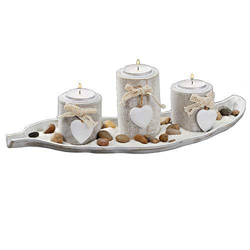 Cepewa Maritimes Teelichthalter Set in antik-weiß auf Blatt Tablett mit Kerzen-Optik inkl Sand Steine Herz Deko für Teelichter Strand