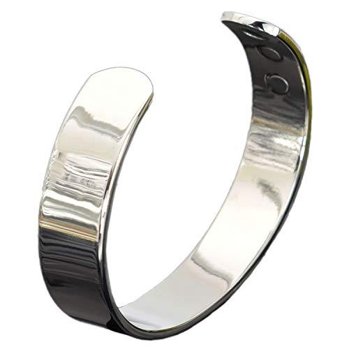 Holistic Magnets® Magnetarmbänder Herren Damen Kupfer Armband (Anlauffarbenfrei) Handgelenk Gelenkheilung Armreif Silber Getont Geschenkidee +Geschenkbox–SB (L: Handgelenk 19-21,5cm)