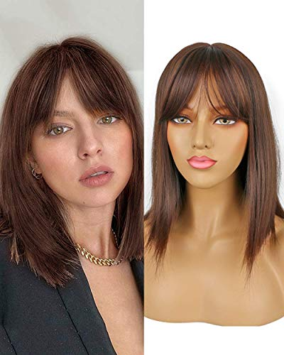 Akashkrishna Straight full head side bangs synthetic hair wigs for women/girls natural brown Full Hair Wig Cosplay Costume Heat Resistant