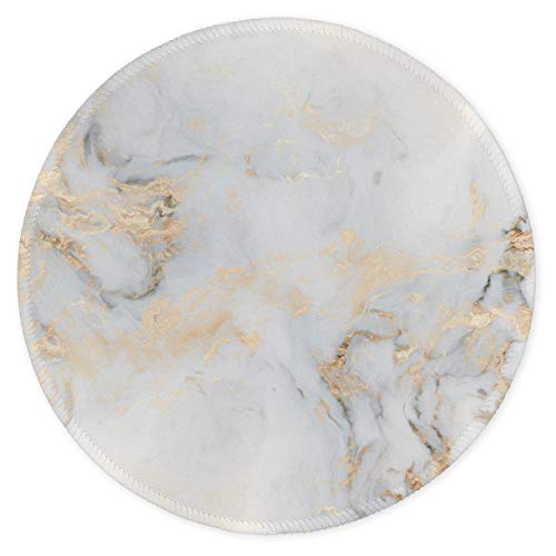 Auhoahsil Mouse Pad, Round Marble Style Anti-Slip Rubber Mousepad with Durable Stitched Edges for Gaming Office Laptop Computer PC Men Women Kids, Cute Custom Design, 8.7 x 8.7 in, Gray White Marble