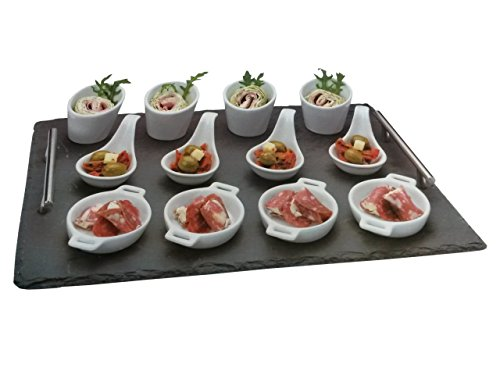 13-tlg. Vorspeisen SET - inkl. Schiefer Tablett, 4 Dessertlöffel, 4 Schalen, 4 Pfännchen - Keramik - Amuse Gueule