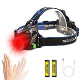 LinternaCabeza Luz Roja, Linterna Frontal LED Recargable con Sensor de Movimiento, 3 Modos,...