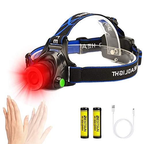 LinternaCabeza Luz Roja, Linterna Frontal LED Recargable con Sensor de Movimiento, 3 Modos, Linterna Frontal LED Rojo para Caza, Pesca, Astronomía y Observación Nocturna (Baterías Incluidas)