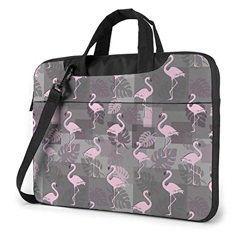 Pink Fla-mingos with Tropical Leaves Cute Laptop Case Laptop Shoulder Messenger Bag Sleeve for 15.6 Inch