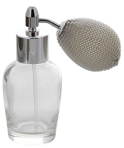 Bauchiger Mini Parfümflakon mit Ballpumpe, Glas 30ml Kosmetex Flakon für Parfum Colognes, leer, Silber