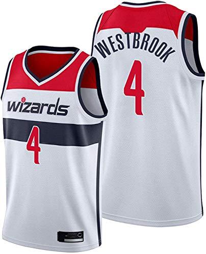 WHYYT Camisetas de Baloncesto para Hombres - NBA Washington Wizards # 4 Russell Westbrook Jersey, cómoda Camionero de Malla Bordada Transpirable,XL(180~185CM/85~95KG)
