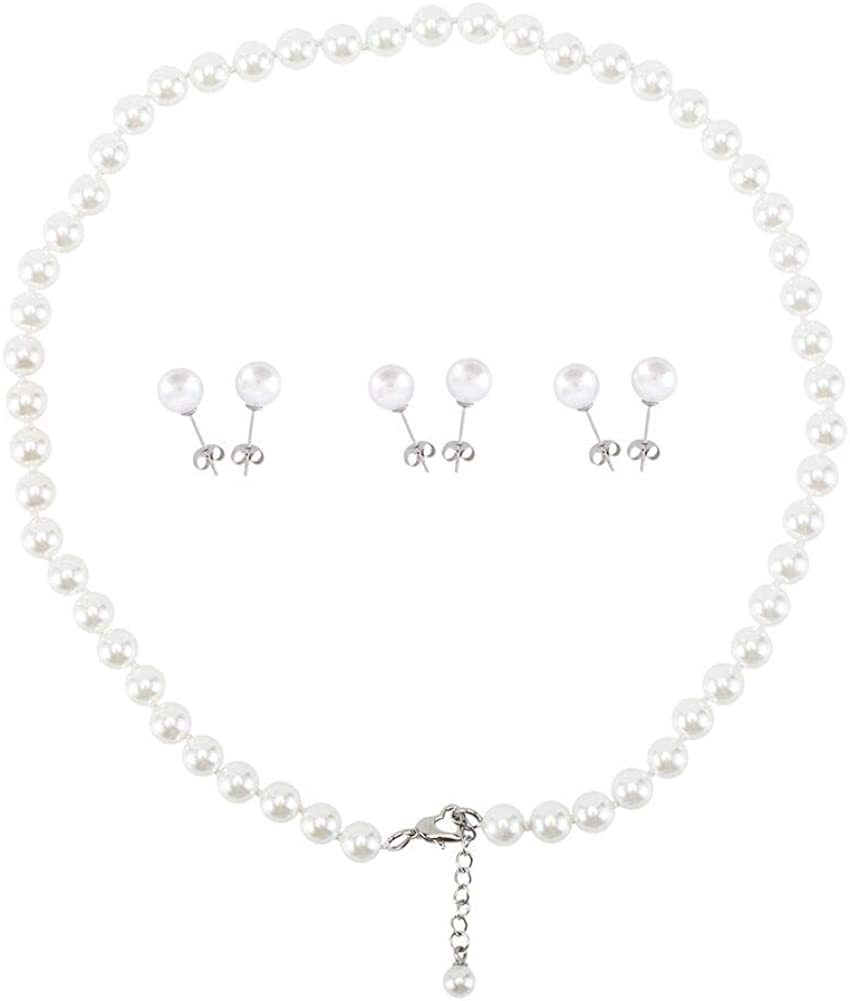 LEILEE Faux Hand Knotted Glass Imitation Pearls Necklace Earring Jewelry 4 Set for Women and Girls