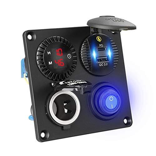 HXF Hxfang Reloj Digital con Doble Cargador USB de Coche a Prueba de Agua en el Interruptor Off 12V 24V Outlet Outlet Panel para SUV camión Barco Marino y más Nave