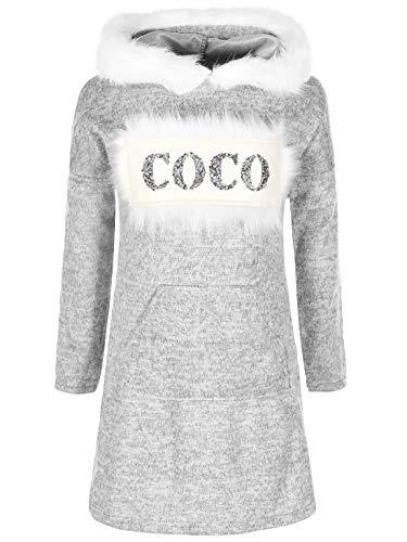 Mädchen Pullover Kleid Long Langarm Shirt Pulli Glitzer Fell-Imitat 30221 Grau 152