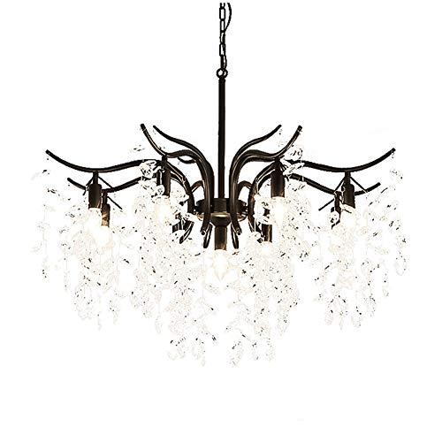 Moderne Magnifique Lustre En Cristal,E14 Réglable Métal Éclairage Plafond Pour Décoration Salon Salle à Manger Chambre Industriel Suspension Luminaire-Noir 9 Têtes