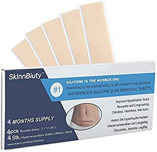 Silicone Scar Removal 4 Sheets, Section Recovery Scar Treatment ,Soften and Flattens Scars Resulting from C-section,Surgery, Injury, Burns, Acne and more, XL7.1