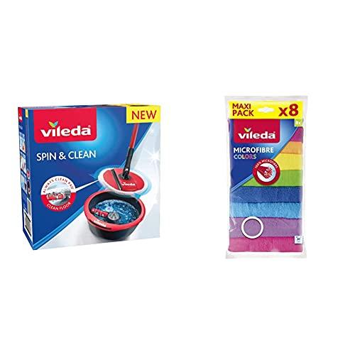 Vileda Spin & Clean Sistema de Fregado, Rojo y Negro, 335 x 176 x 343 mm + Set de 8 bayetas Microfibras Colors, Colores Variados, 30 x 30 cm, 8 Unidades