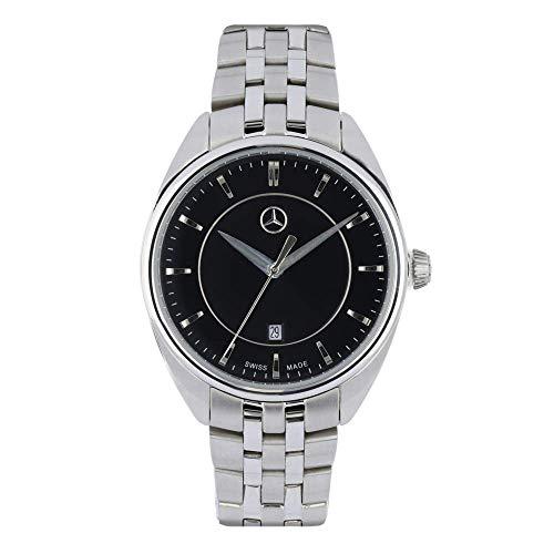 Mercedes Benz Original - Reloj de pulsera para mujer (acero inoxidable, 32,5 mm), color plateado y negro