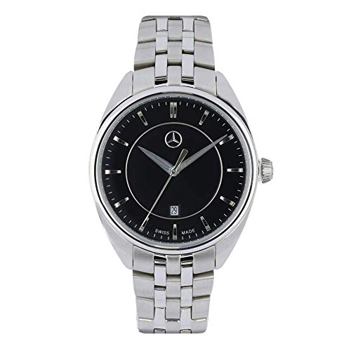 Mercedes Benz Original - Reloj de pulsera para mujer (acero inoxidable, 32,5 mm), color plateado y negro