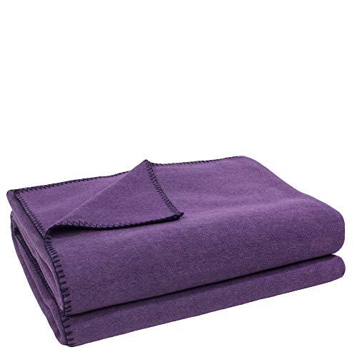 Soft-Fleece-Decke – Polarfleece-Decke mit Häkelstich – flauschige Kuscheldecke – 160x200 cm – 490 aubergine – von 'zoeppritz since 1828', 103291-490-160x200