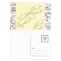 植物の枝の抽象的な芸術のパターン 公式ポストカードセットサンクスカード郵送側20個