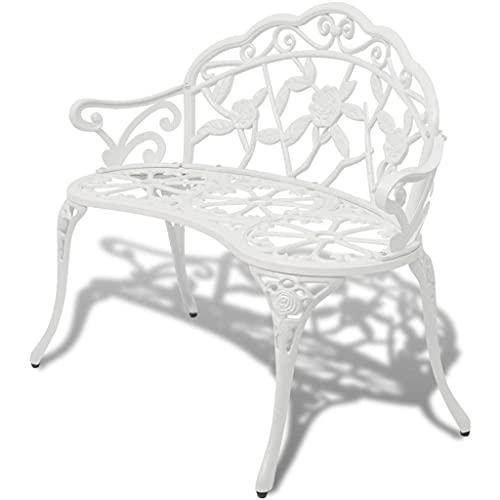 Garden Bench Outdoor Chair Park Seat Furniture White Cast Aluminium 2-Seater