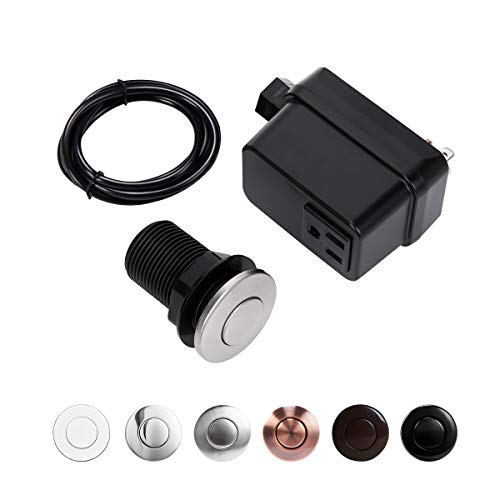 Product Image of the Garbage Disposal Air Switch Kit, Sink Top Switch for disposal, Stainless Steel Brushed, SHORT/2' Button By CLEESINK