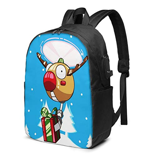 Laptop Backpack with USB Port Robot Drone Red Nose Reindeer, Business Travel Bag, College School Computer Rucksack Bag for Men Women 17 Inch Laptop Notebook