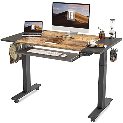 FEZIBO Dual Motor Height Adjustable Electric Standing Desk with Keyboard Tray, 48 x 24 Inch Sit Stand Table with Splice Board, Black Frame/Black and Rustic Brown Top