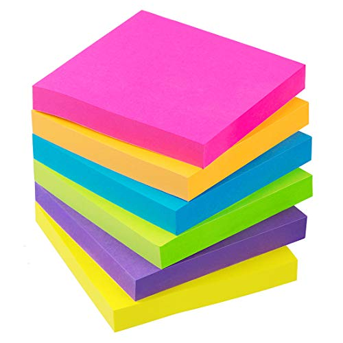 Sticky Notes 3x3 Inch 6 Bright Color 100 Sheets/Pads Colored self-Stick Notes