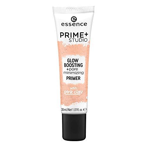 essence prime+ studio glow boosting + pore minimizing primer, Grundierung, nude, grundierend, porenverfeinernd, aufhellend, weichzeichnend, schimmernd, strahlend, vegan, ölfrei, ohne Alkohol (30ml)