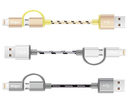 Miger (3Pack) Cables Lightning 0.5Ft USBLink Duo Corto 2 en 1 Cable...