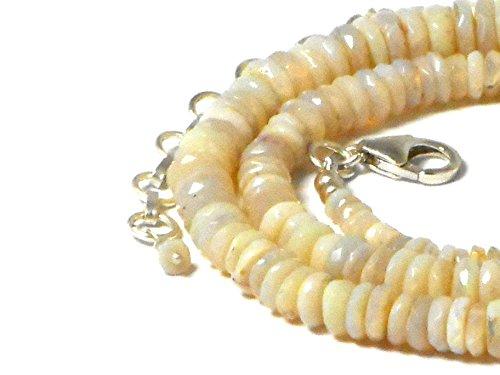 Collar de plata de ley 925 con ópalo blanco australiano (WOPN1602161)