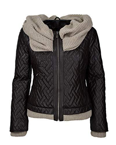 COCO BLACK LABEL since1986 Lederjacke mit Kapuze gesteppt Kurze Frauen Lederjacke für Damen Solium, Größe:38, Farbe:Braun