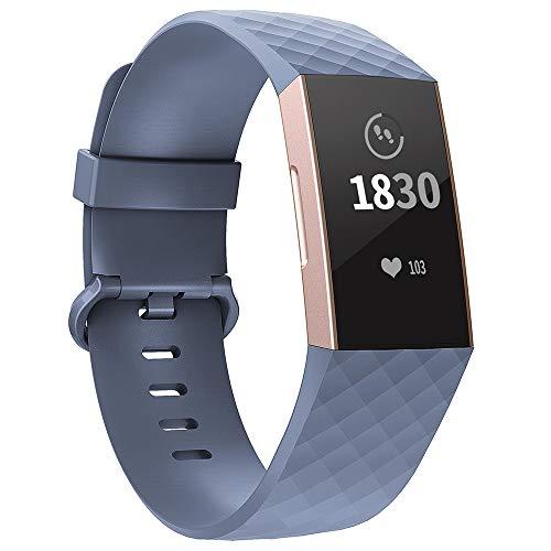 Adepoy für Fitbit Charge 3 Armband, Verstellbarer klassischer Sport Ersatzarmband Kompatibel mit Fitbit Charge 3/ Charge 3 SE, Damen Herren (Blaugrau, Klein)